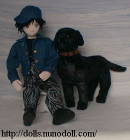 Doll and black dog